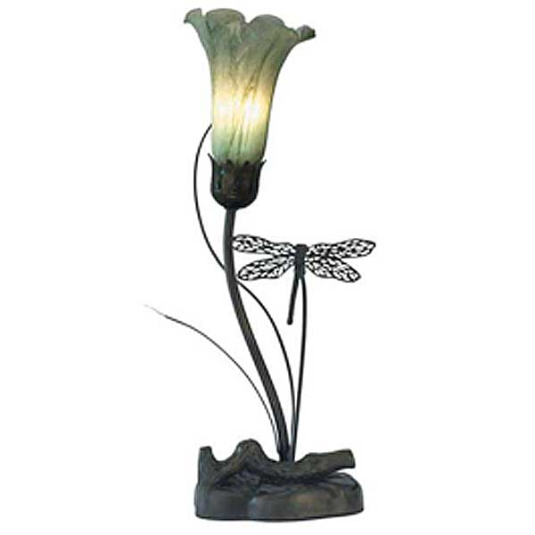 Single Dragonfly and Matt White Lily Table Lamp