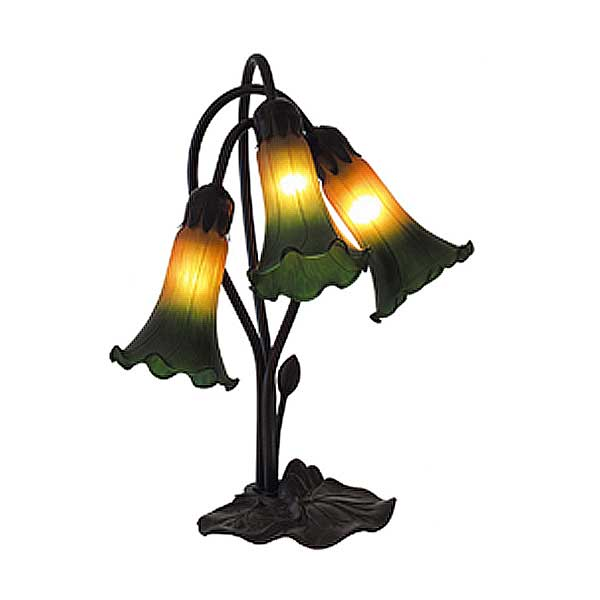 Triple Amber Green Lily Table Lamp Facing Down