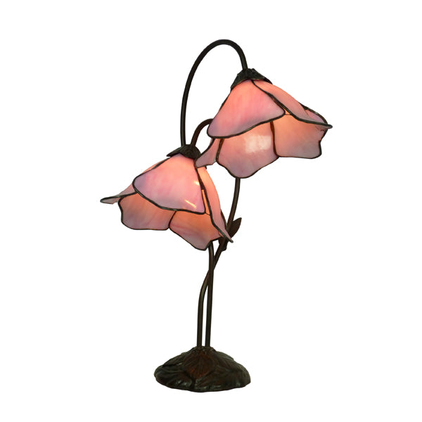 Tiffany Double Pink Lotus Table Lamp