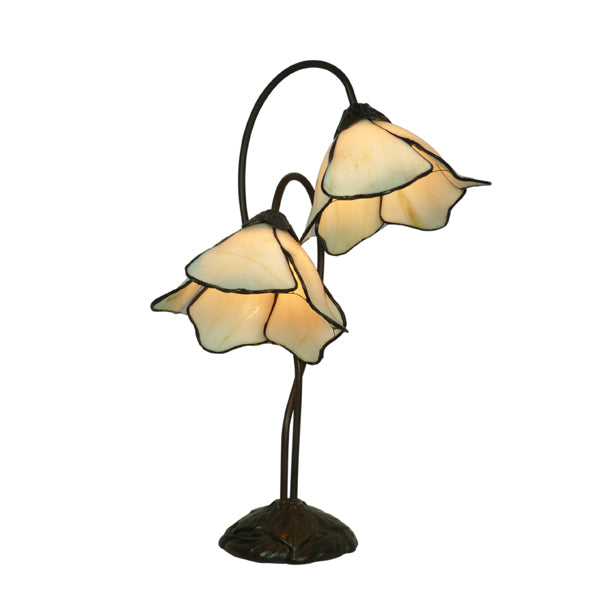 Tiffany Double Beige Lotus Table Lamp
