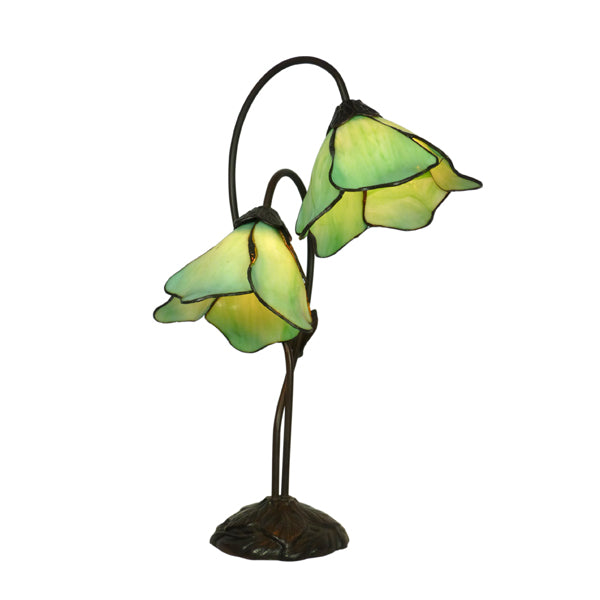 Tiffany Double Green Lotus Table Lamp
