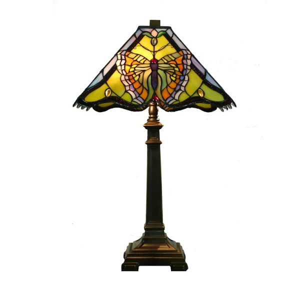 "Monarch 14""  Square Butterfly Tiffany Table Lamp"