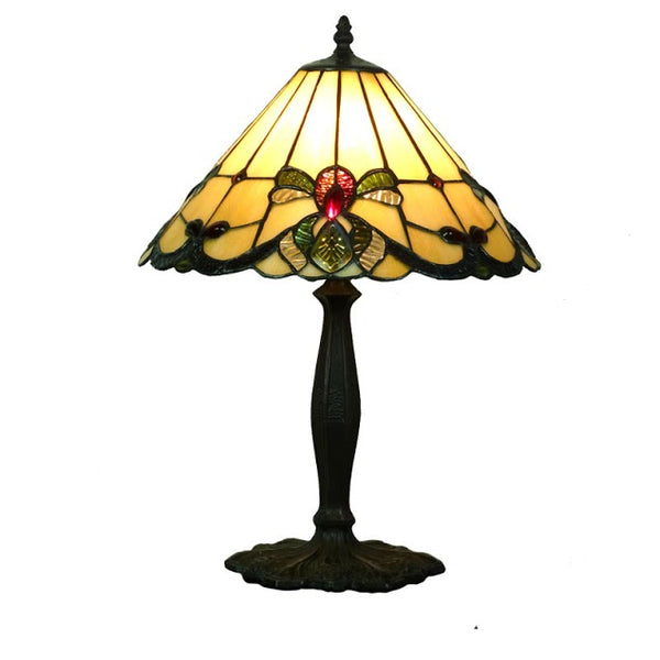 "St George 14"" Beige Tiffany Table Lamp"