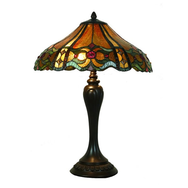 "Michelazzi 16"" Curved Amber Tiffany Table Lamp"