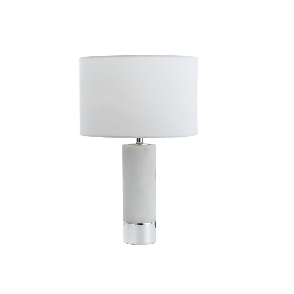 Toledo White Marble and Chrome Table Lamp