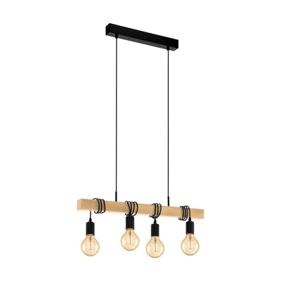 Townshend Black and Timber 4  Light Pendant