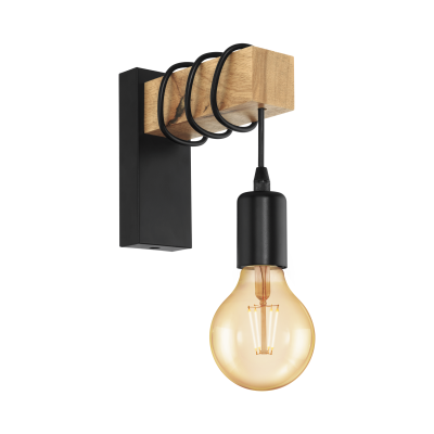 Townshend Black and Timber Vintage Indoor Wall Light