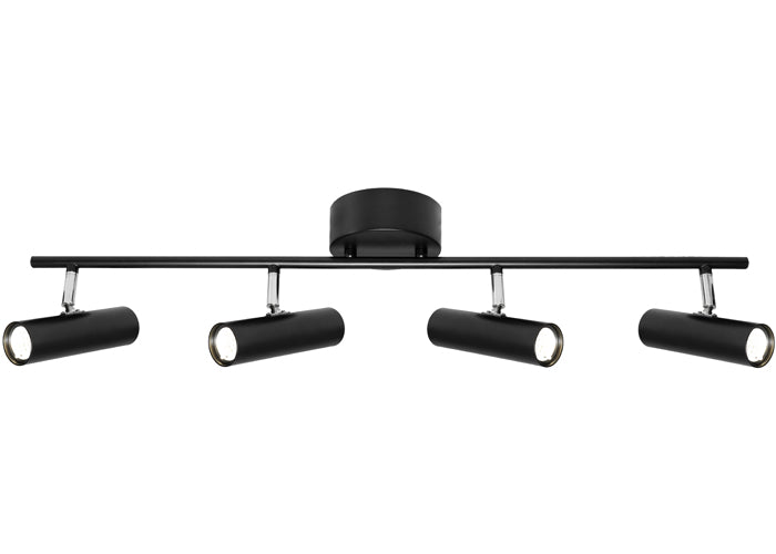 Vector 4 Light Bar Black Round Architectural Slim LED Spotlight