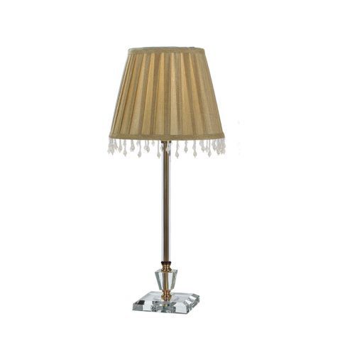 Whitney Antique Brass Slim Crystal Base Pleated Shade Table Lamp