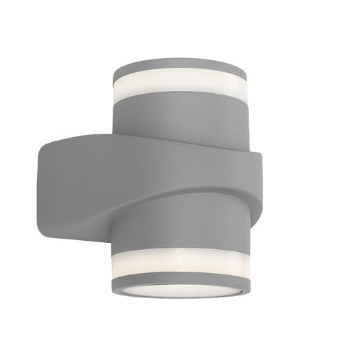 Yukon Silver Up/Down LED Pillar Exterior Wall Light