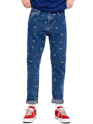 Tommy Jeans Embroidered USA Flag Mid Wash Jeans