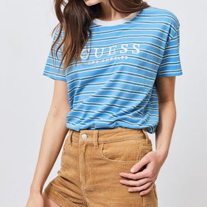 Guess women Huntley Cropped T-Shirt Blue Stripe