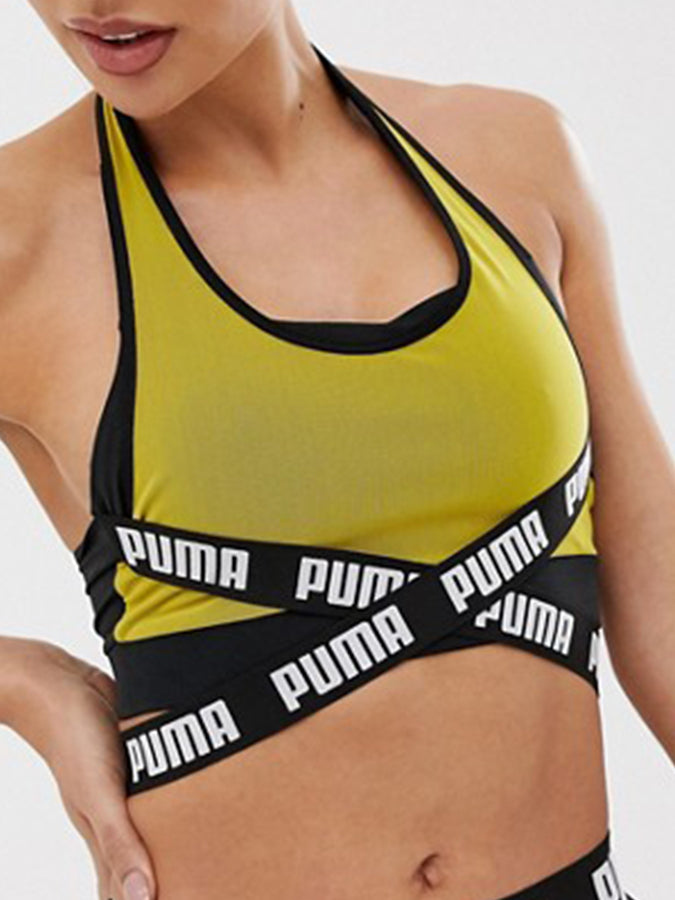 Puma women double layer tape detail Top Yellow