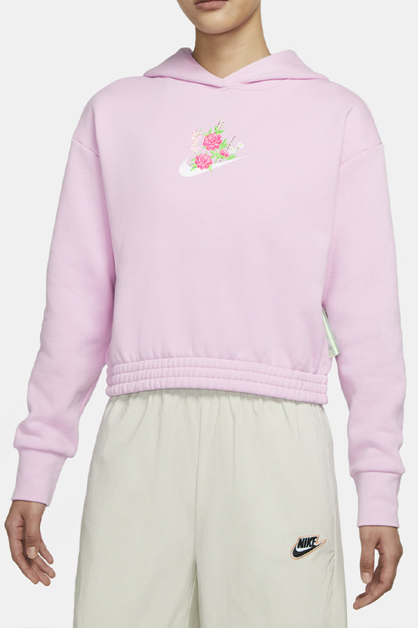 Nike women embroidered Flower Hoodie Pink