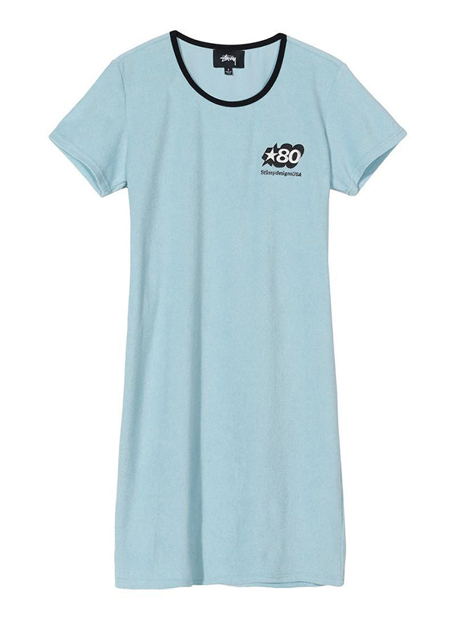 Stussy women Barra Short Sleeve Mini Dress Sky Blue