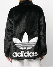 Adidas logo faux-fur jacket Black