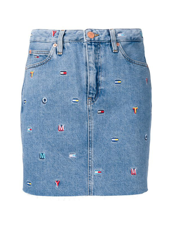 Tommy Jeans embroidered logo denim skirt