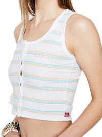 Dickies women Rainbow Stripe Button Up Tank White