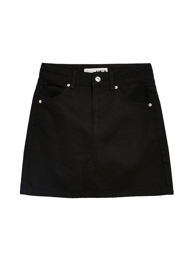Topshop High Waisted Denim Skirt Black