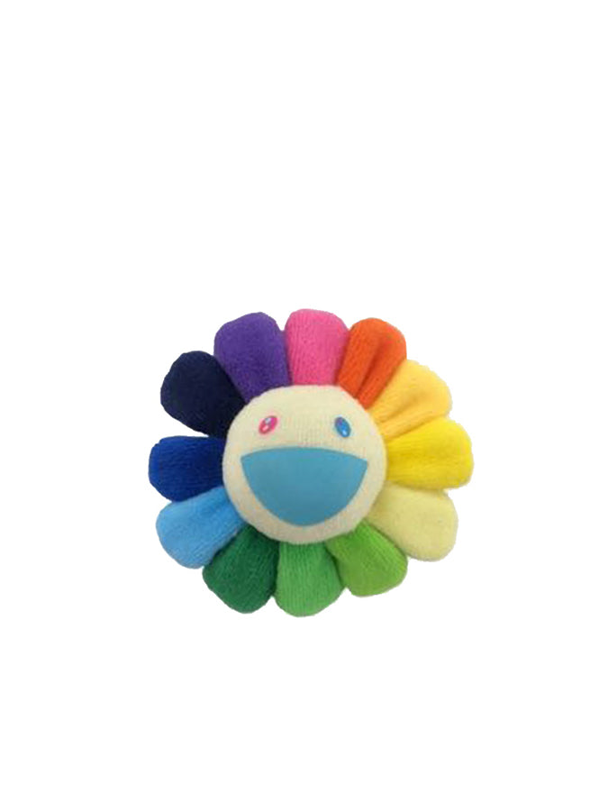 村上隆 Takashi Murakami Flower Plush Pin Rainbow/Blue mouth