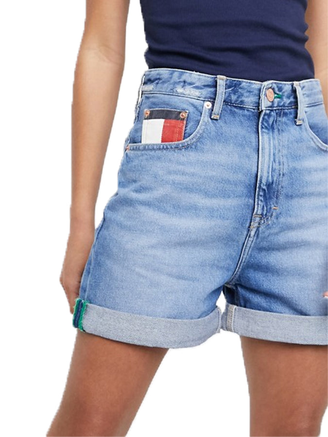 Tommy Jeans women high rise denim mom shorts midwash blue