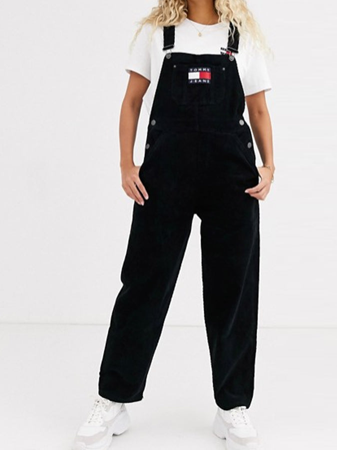 Tommy Jeans women cord dungaree Black