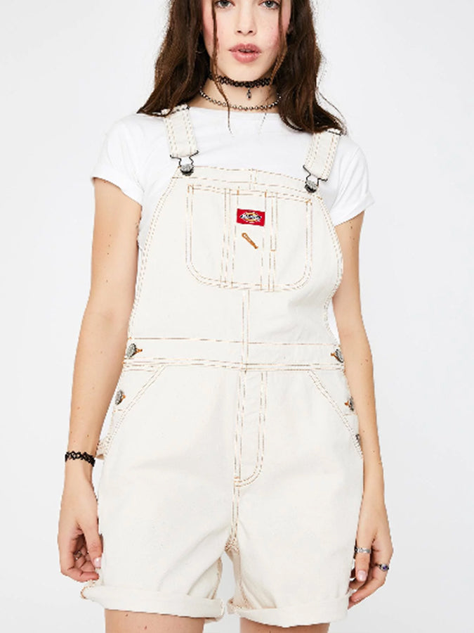 Dickies women hem overall Shorts Cream
