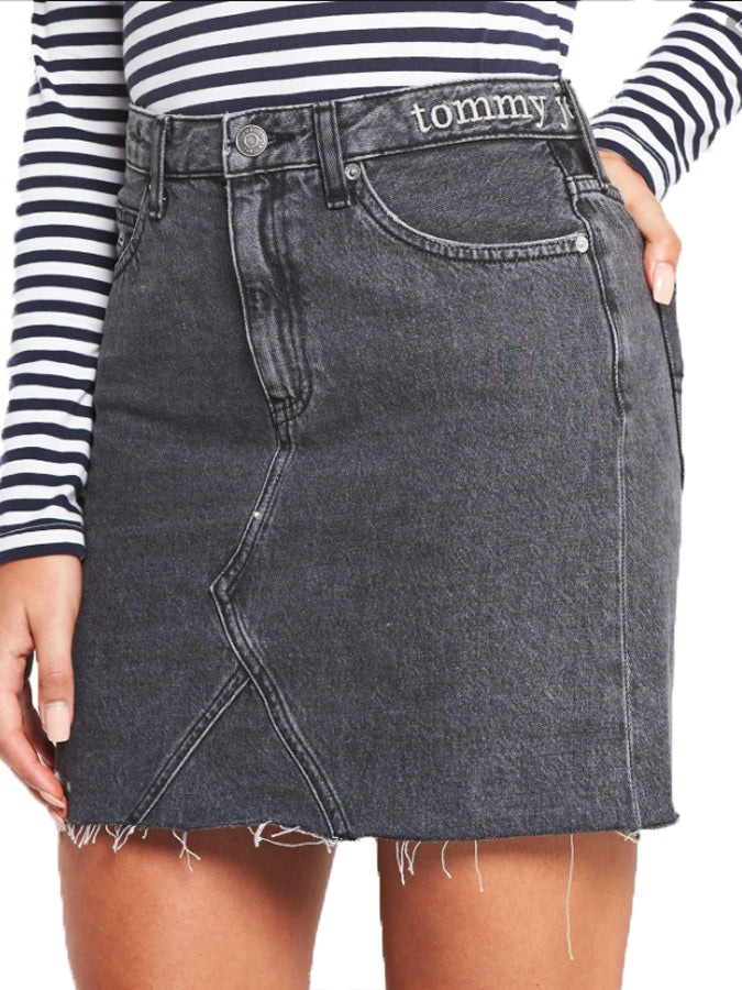 Tommy Jeans women denim raw Skirt Black