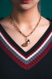 BBG heart chain Necklace Vintage Gold