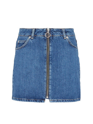 Topshop Zip Denim Skirt Blue