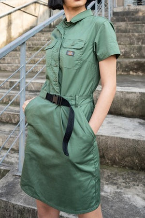 Dickies JP women twilll ss Dress Army Green