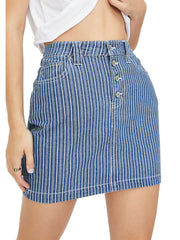 Dickies women Antique Wash Striped Mini Skirt Denim