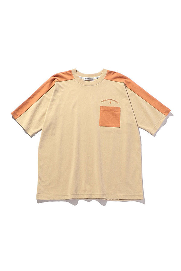 Kangol JP women colourblock Pocket T-Shirt Khaki/Peach