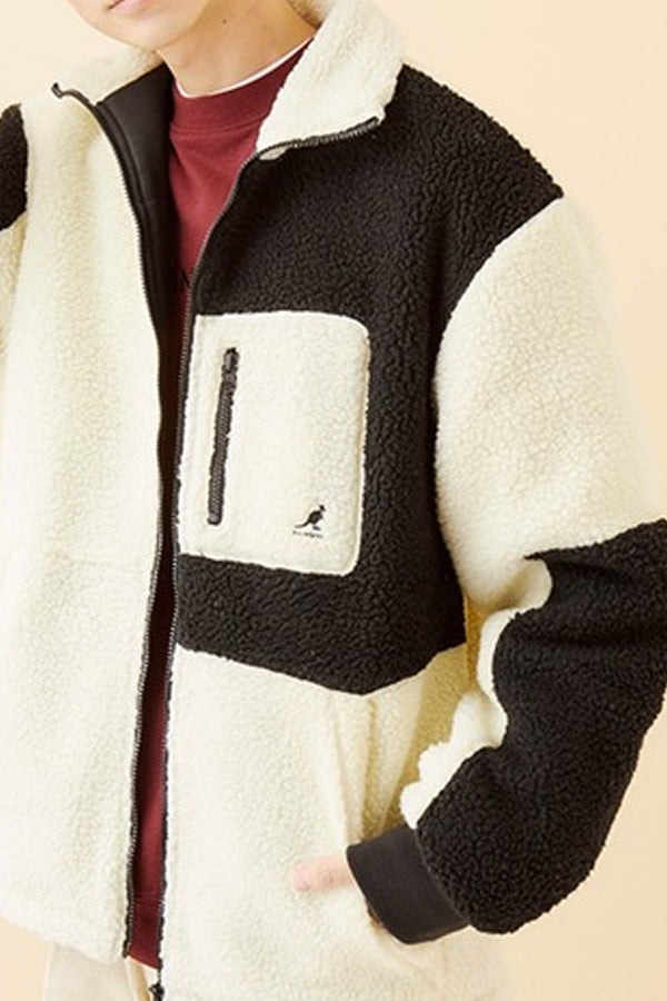 Kangol pocket sherpa Jacket White/Black