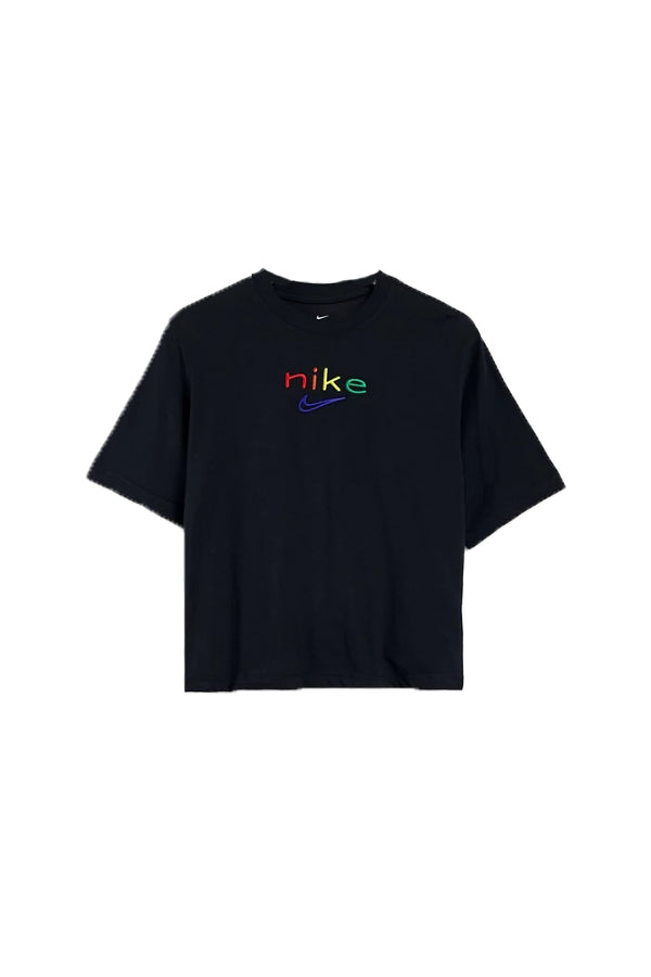 Nike women colorful logo crop T-shirt Black