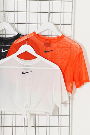 Nike women mesh tie front crop T-shirt Orange
