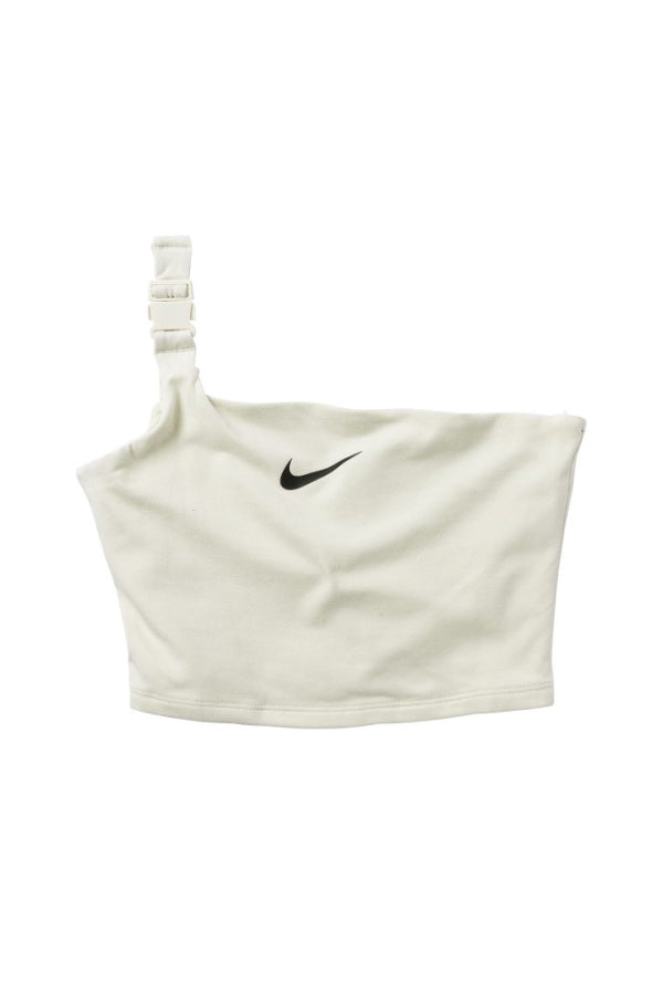 Nike women one shoulder buckle crop Tank White