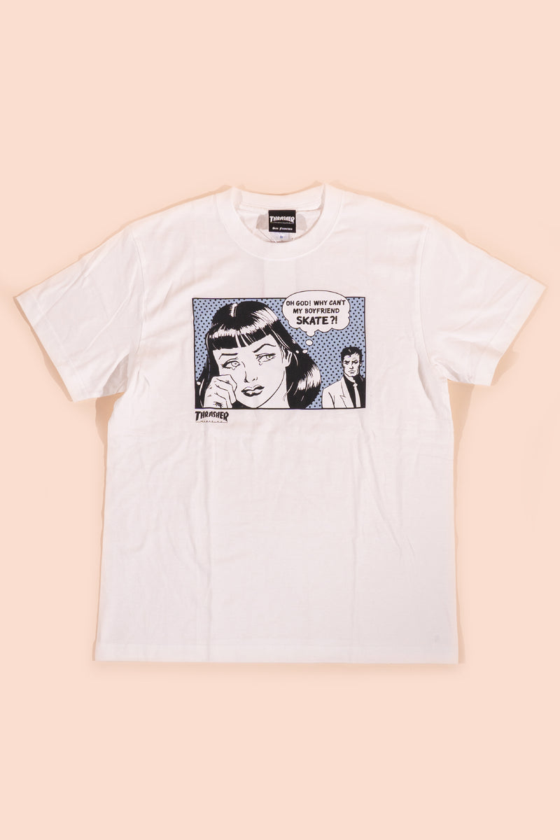 Thrasher boyfriend blue back T-Shirt White