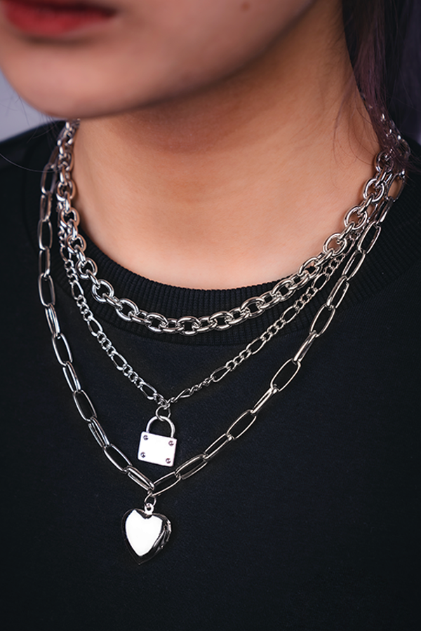 BBG 3+chain Necklace Bundle Silver