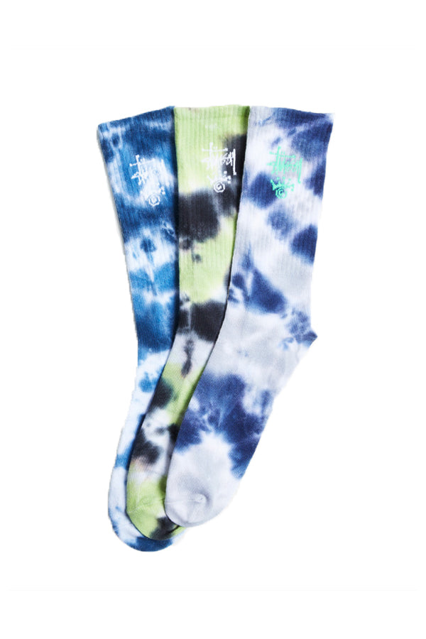 Stussy Crown Tie Dye Sock 3 Pack Green/Blue/Grey
