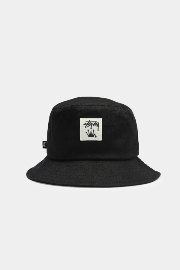 Stussy Stock Crown patch Bucket Hat Black
