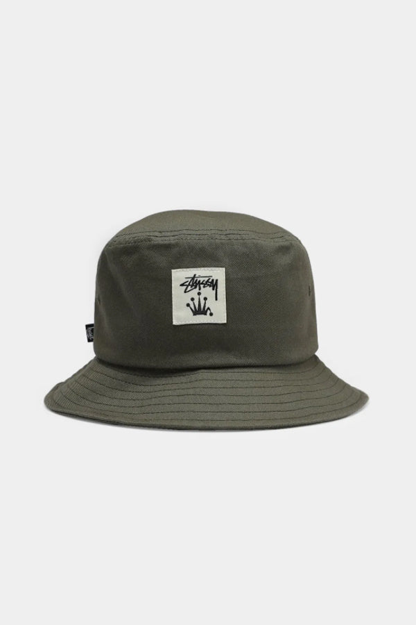 Stussy Stock Crown patch Bucket Hat Army Green