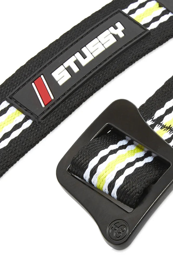 Stussy stripe web Belt Black/Lime