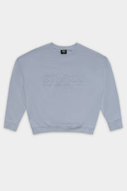 Stussy women Trail Embro. Rugby Sweatshirt Light Blue
