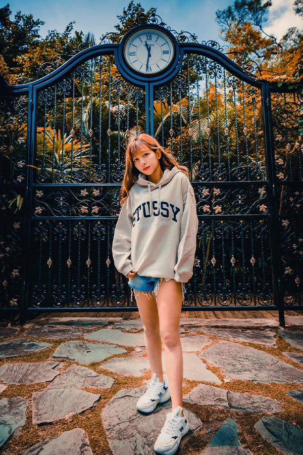 Stussy women world os bf Hoodie Tan