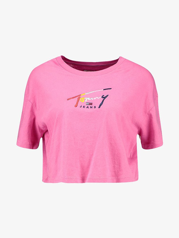 Tommy Jeans women rainbow logo crop T-shirt Pink