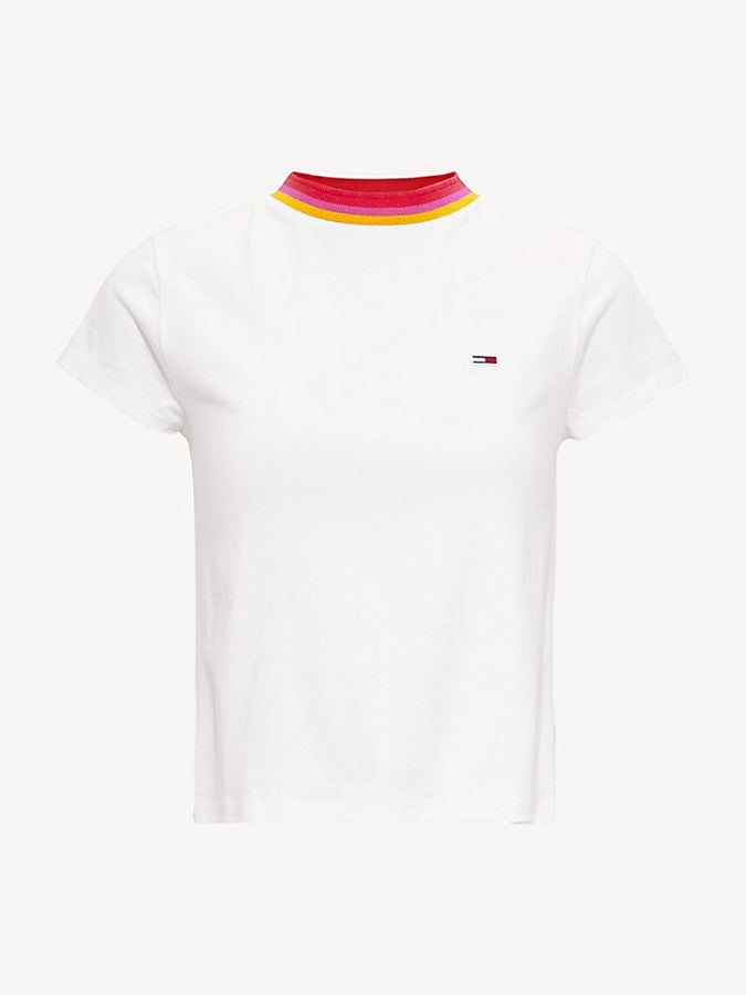 Tommy Jeans women stripe collar T-shirt White