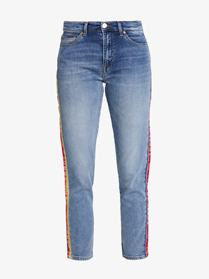 Tommy Jeans women popper high rise Izzy slim jeans Blue/Rainbow