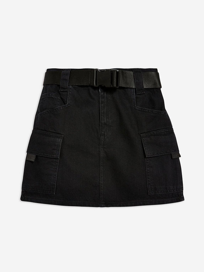 TopShop Clip Belt Denim Skirt Black