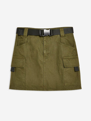 TopShop Clip Belt Denim Skirt Army Green